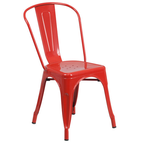 Our Commercial Grade Red Metal Indoor-Outdoor Stackable Chair is on sale now.
