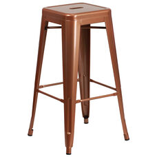 """Commercial Grade 30"""" High Backless Copper Indoor-Outdoor Barstool"""