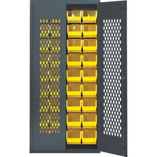 Wire Mesh Safe-View Bin Cabinet with 18 Bins - Yellow