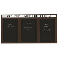 3 Door Indoor Illuminated Enclosed Directory Board with Header and Bronze Anodized Aluminum Frame - 48