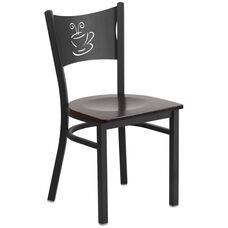 Black Coffee Back Metal Restaurant Chair with Walnut Wood Seat