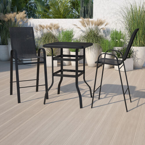 3 Piece Outdoor Glass Bar Patio Table Set with 2 Barstools