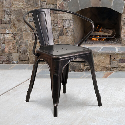 Our Commercial Grade Black-Antique Gold Metal Indoor-Outdoor Chair with Arms is on sale now.