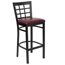 Black Window Back Metal Restaurant Barstool with Burgundy Vinyl Seat