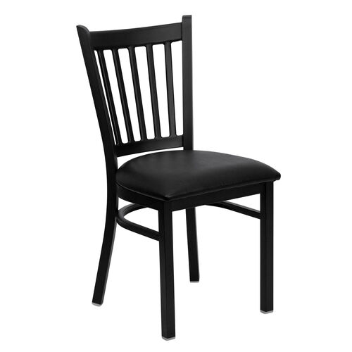 Our Black Vertical Back Metal Restaurant Chair with Black Vinyl Seat is on sale now.