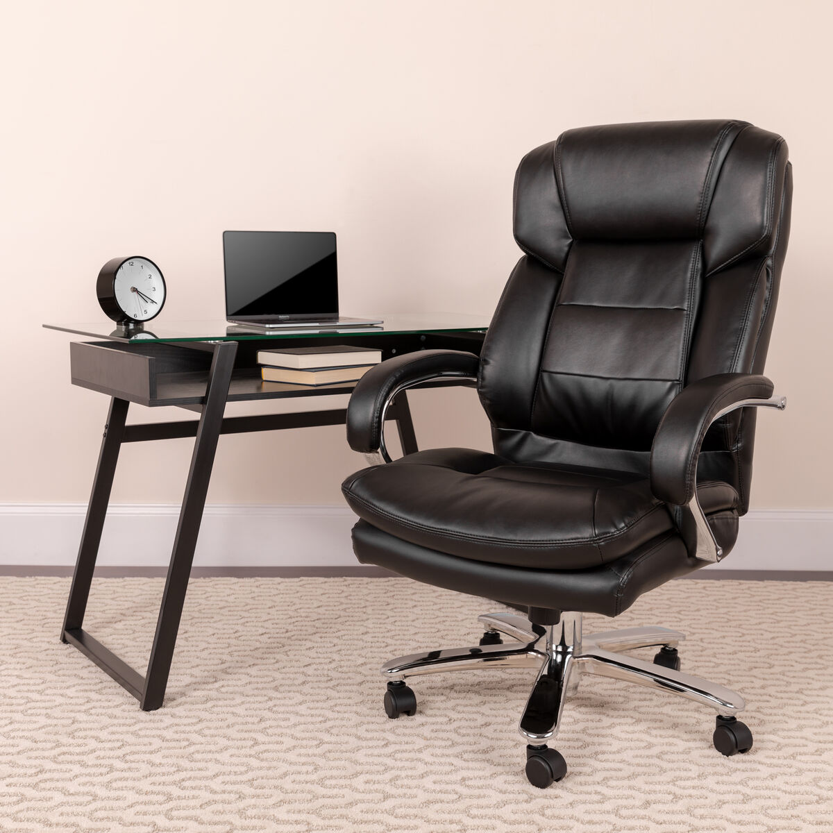 Fine Big Tall Office Chair Black Leather Swivel Executive Desk Chair With Wheels Download Free Architecture Designs Viewormadebymaigaardcom
