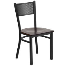 Black Grid Back Metal Restaurant Chair with Walnut Wood Seat