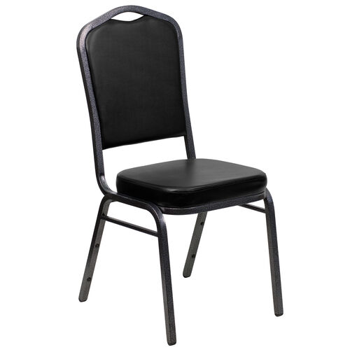 Our HERCULES Series Crown Back Stacking Banquet Chair in Black Vinyl - Silver Vein Frame is on sale now.
