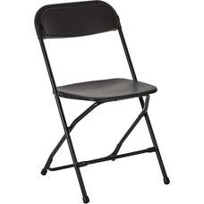 Work Smart Plastic Folding Chair - Set of 2 - Black