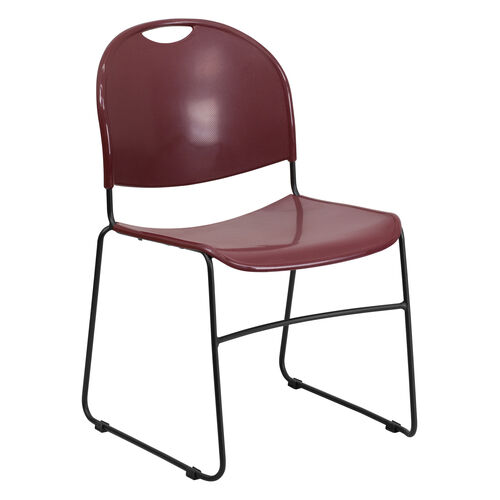 HERCULES Series 880 lb. Capacity Burgundy Ultra Compact Stack Chair with Black Frame
