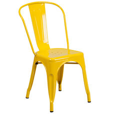 Yellow Metal Indoor-Outdoor Stackable Chair