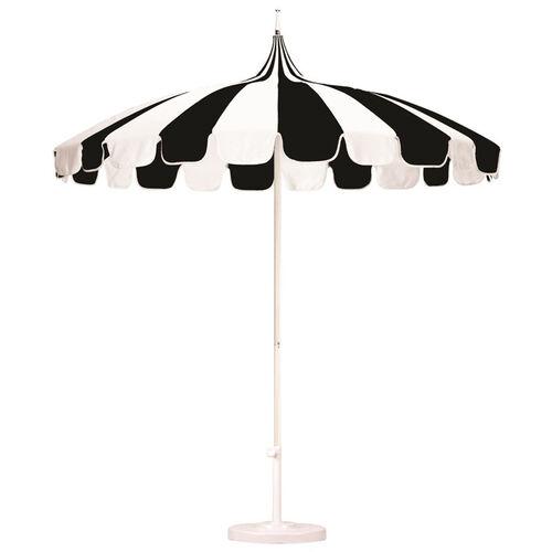 8.5Ft. Pagoda Style Umbrella with Push Lift and Single Wind Vent - White Aluminum Pole