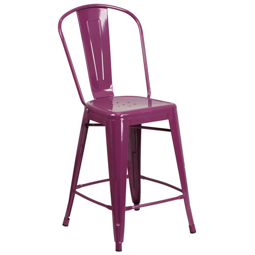 """Our Commercial Grade 24"""" High Purple Metal Indoor-Outdoor Counter Height Stool with Back is on sale now."""