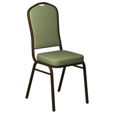 Embroidered Crown Back Banquet Chair in Biltmore Alfalfa Fabric - Gold Vein Frame