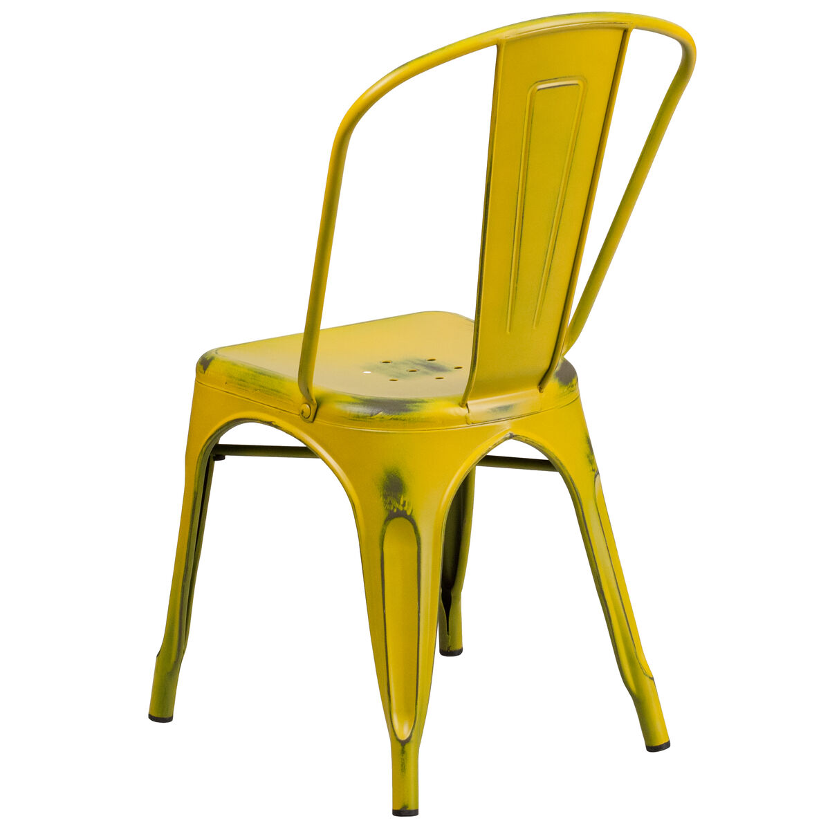 Distressed Yellow Metal Chair Et 3534 Yl Gg