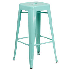 "Commercial Grade 30"" High Backless Mint Green Indoor-Outdoor Barstool"