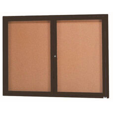 2 Door Indoor Enclosed Bulletin Board with Black Powder Coated Aluminum Frame - 36