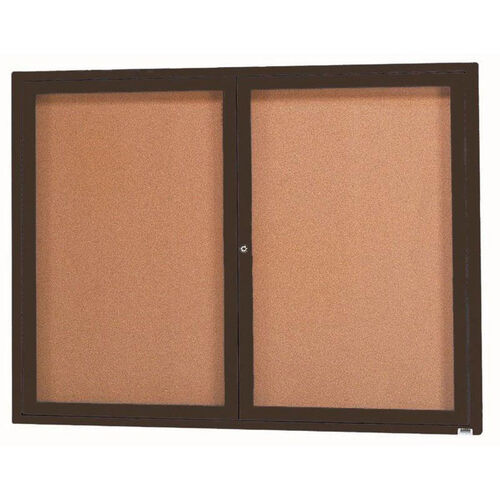 Our 2 Door Indoor Enclosed Bulletin Board with Black Powder Coated Aluminum Frame - 36