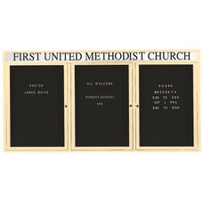 3 Door Indoor Enclosed Directory Board with Header and Ivory Anodized Aluminum Frame - 36