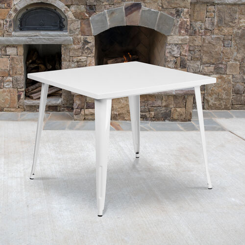 "Our Commercial Grade 35.5"" Square White Metal Indoor-Outdoor Table is on sale now."