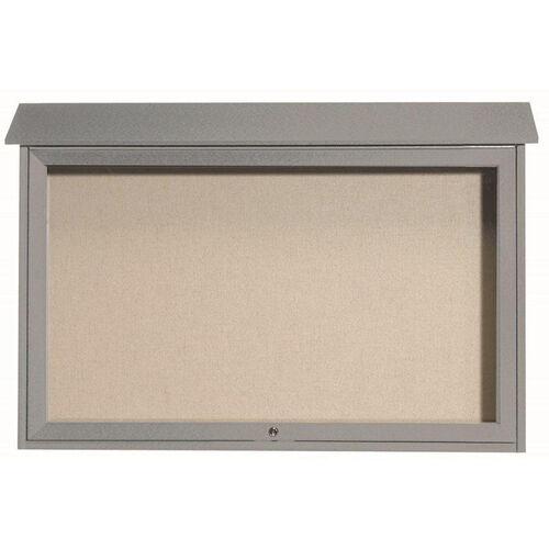 Light Gray Top Hinged Single Door Plastic Lumber Message Center with Vinyl Surface - 30