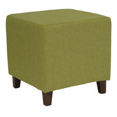 Ascalon Upholstered Ottoman Pouf in Green Fabric