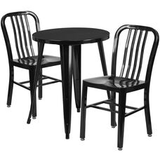 """Commercial Grade 24"""" Round Black Metal Indoor-Outdoor Table Set with 2 Vertical Slat Back Chairs"""