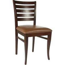 Ladder Back Side Chair in Medium Oak Wood Finish