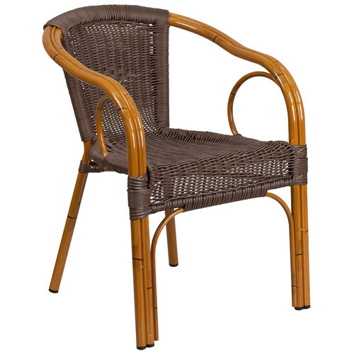 Our Cadiz Series Dark Brown Rattan Restaurant Patio Chair with Red Bamboo-Aluminum Frame is on sale now.