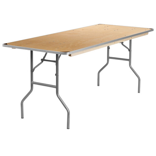 Our 6-Foot Rectangular HEAVY DUTY Birchwood Folding Banquet Table with METAL Edges and Protective Corner Guards is on sale now.