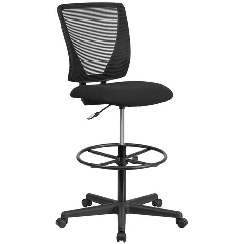 Our Ergonomic Mid-Back Mesh Drafting Chair with Black Fabric Seat and Adjustable Foot Ring is on sale now.