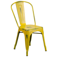 Commercial Grade Distressed Yellow Metal Indoor-Outdoor Stackable Chair