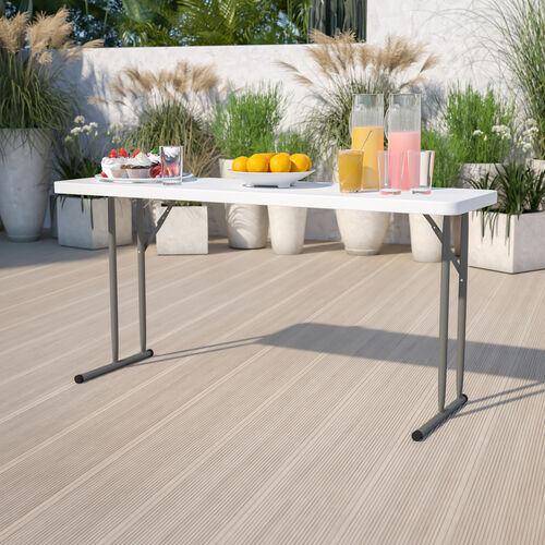 5-Foot Granite White Plastic Folding Training Table