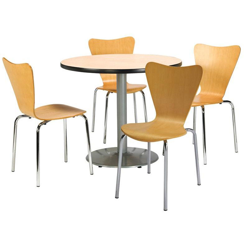 ... Our 42u0027u0027 Round Natural Laminate Table Set With Natural Finish Wood Cafe  Stack Chairs