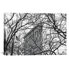 Veiled Flatiron Building in B&W by Erin Clark Gallery Wrapped Canvas Artwork