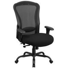 HERCULES Series 24/7 Intensive Use Big & Tall 400 lb. Rated Black Mesh Multifunction Swivel Chair with Synchro-Tilt