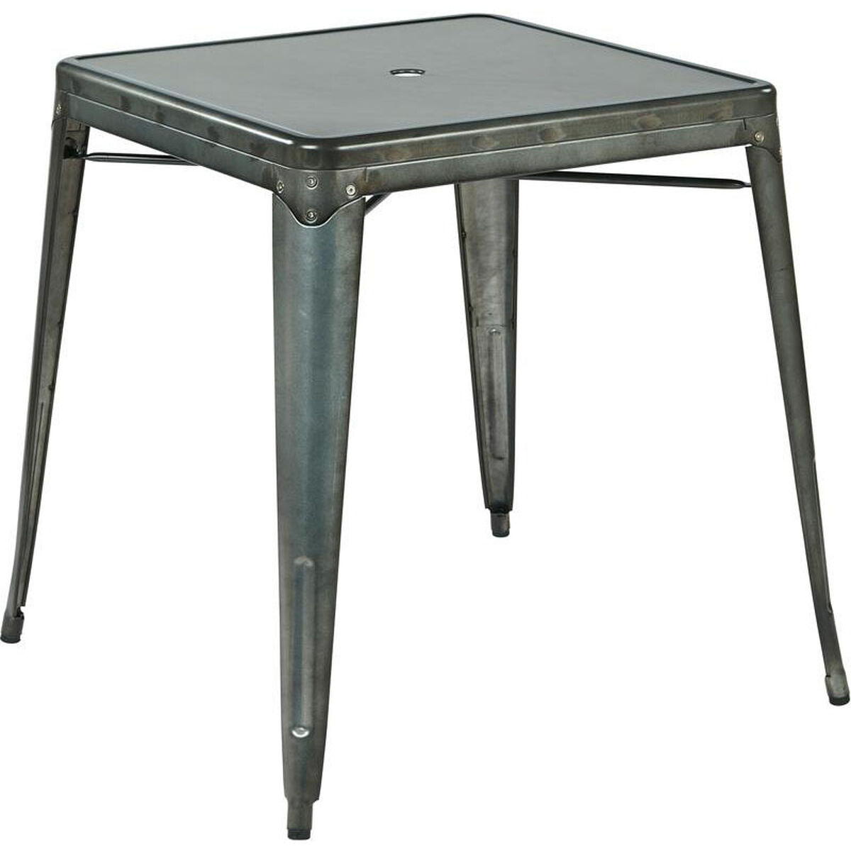 Our Osp Designs Bristow Metal Dining Table With Umbrella Hole Matte Galvanized Finish Is On