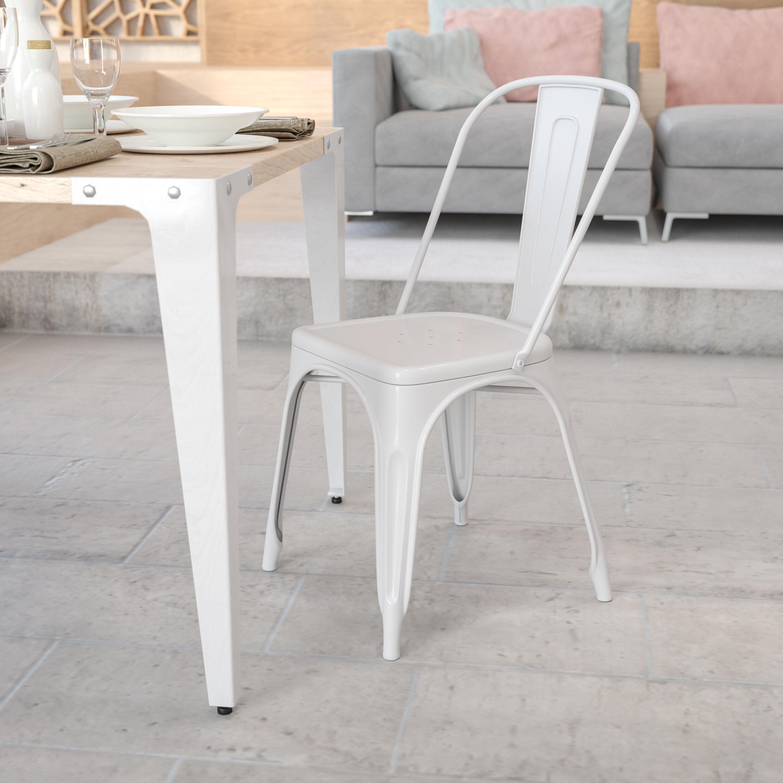 White Metal Indoor Outdoor Stackable Chair