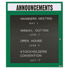 1 Door Outdoor Enclosed Directory Board with Header and Green Anodized Aluminum Frame - 36
