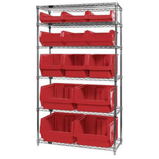 Wire Shelving Unit with 13 Magnum Bins - Red