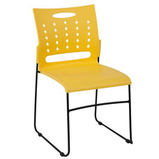 HERCULES Series 881 lb. Capacity Yellow Sled Base Stack Chair with Air-Vent Back
