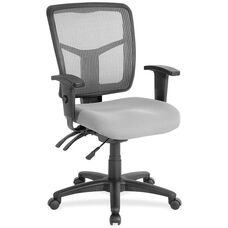 Lorell Black Mesh Mid-back Managerial Chair with Adjustable Arms and Gray Mesh Seat