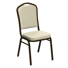 Embroidered Crown Back Banquet Chair in E-Z Sierra White Vinyl - Gold Vein Frame