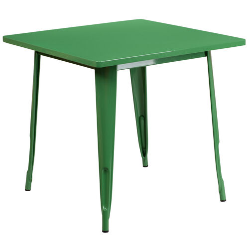 """Our Commercial Grade 31.5"""" Square Green Metal Indoor-Outdoor Table is on sale now."""