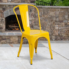 Commercial Grade Yellow Metal Indoor-Outdoor Stackable Chair
