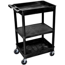 Heavy Duty Multi-Purpose Mobile Tub Utility Cart with 1 Flat Shelf and 2 Tub Shelves - Black - 24