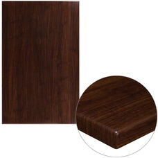 "30"" x 48"" Rectangular High-Gloss Walnut Resin Table Top with 2"" Thick Edge"