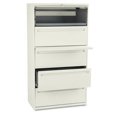 HON® 700 Series Five-Drawer Lateral File w/Roll-Out & Posting Shelf - 36w - Putty