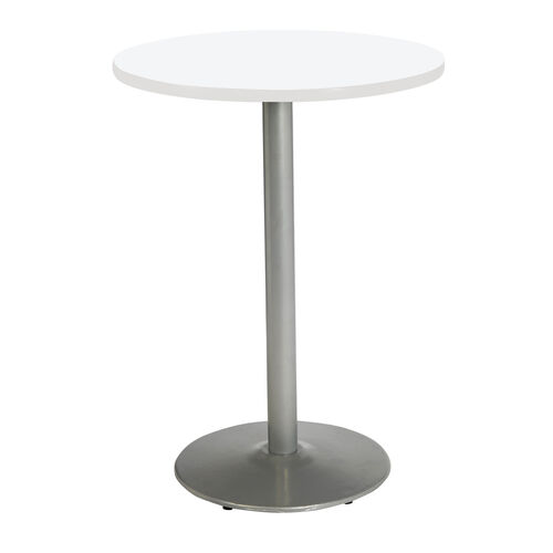 "30"" Round Laminate Bistro Height Pedestal Table with Designer White Top - Silver Round Base"