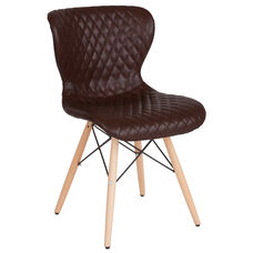Riverside Contemporary Upholstered Chair with Wooden Legs in Brown Vinyl
